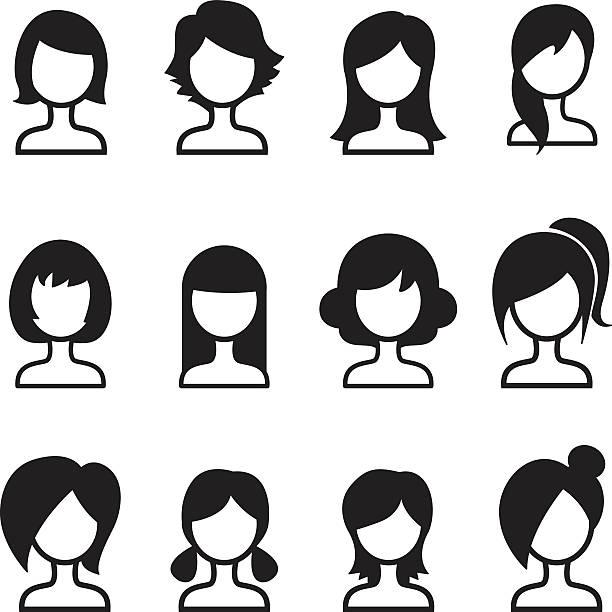 女性ヘアスタイルアイコンの設定 - 髪型点のイラスト素材/クリップアート素材/マンガ素材/アイコン素材