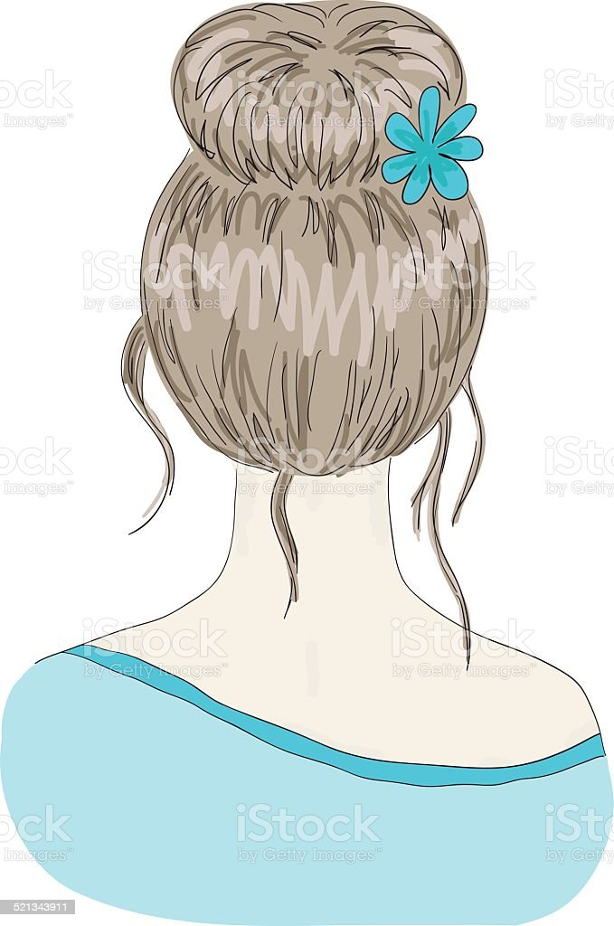 woman hairstyle view from back vector art illustration