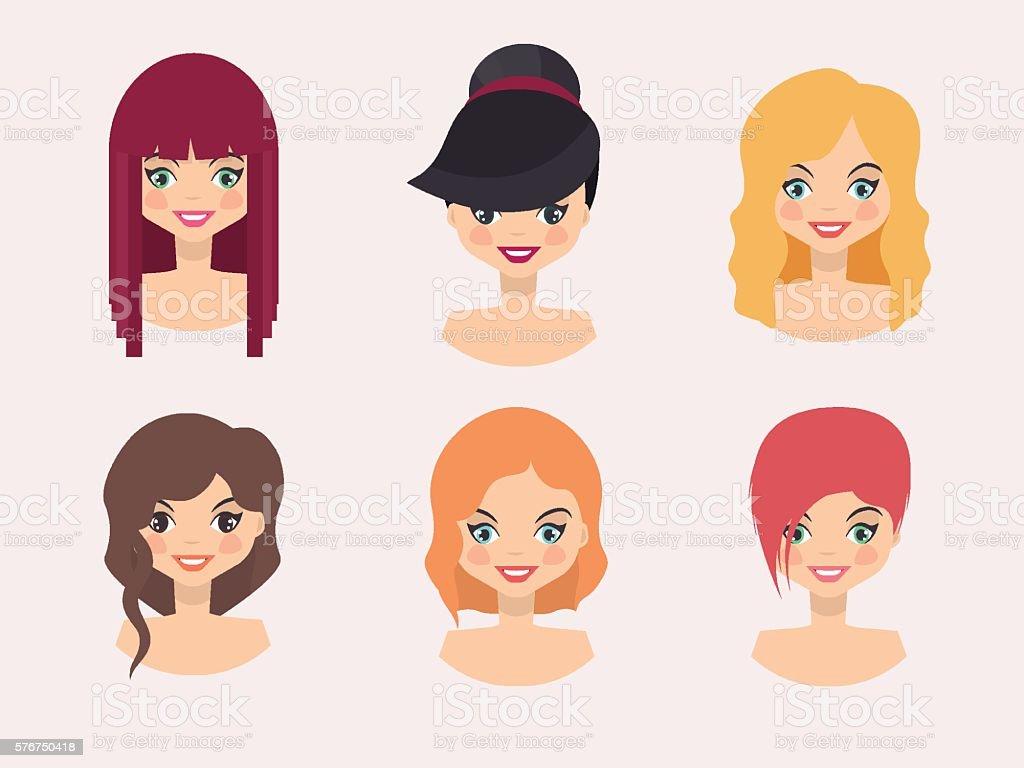 Woman Hairstyles vector art illustration