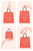 woman hand and shopping bags, vector collection
