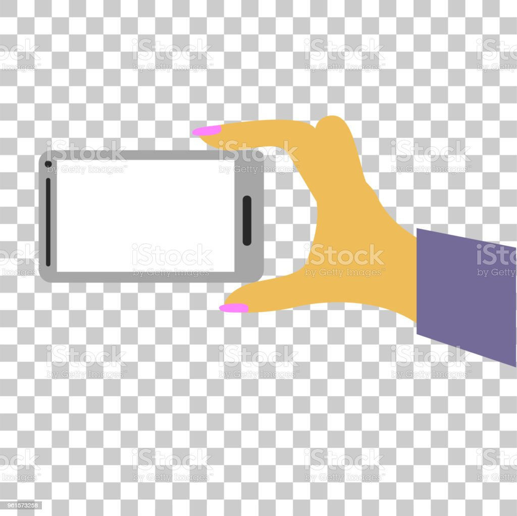 woman hand holding smartphone, at transparent effect background vector art illustration
