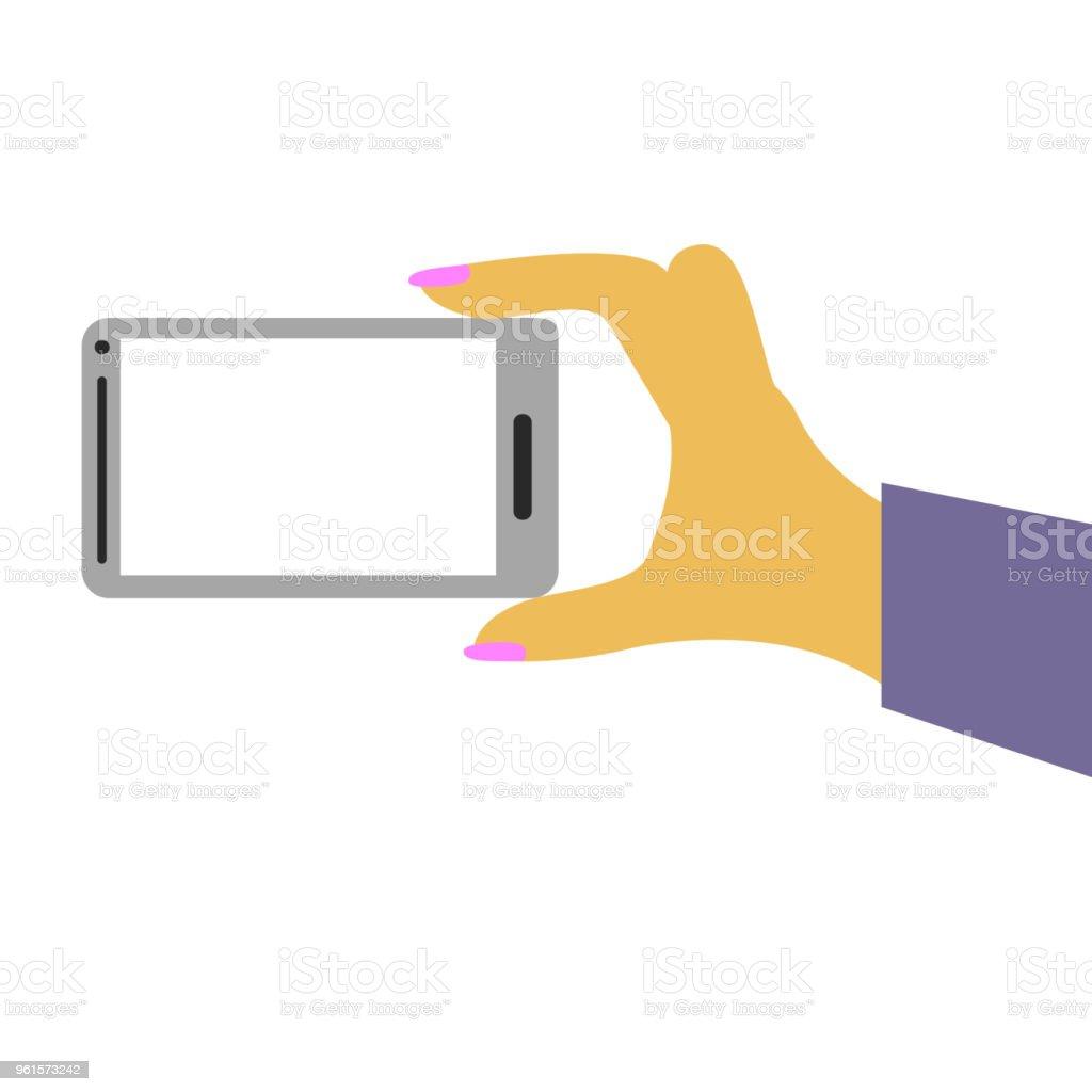 woman hand holding smartphone vector art illustration