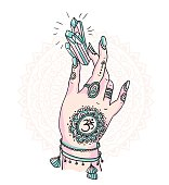 Woman hand is holding magic crystal. Vector illustration isolated.