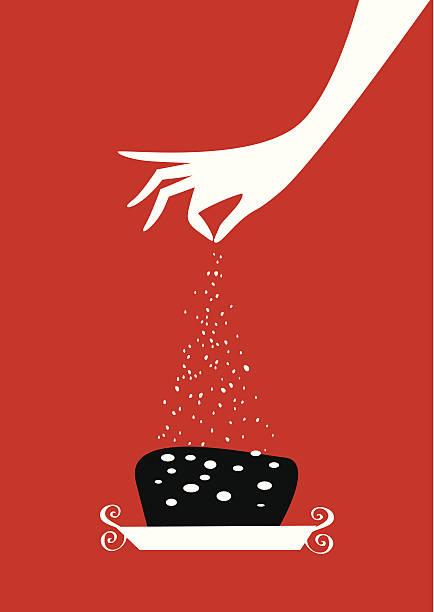 Mujer de la mano vertiendo azúcar en una torta. - ilustración de arte vectorial