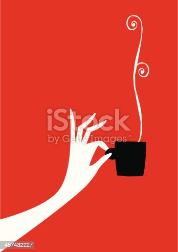 Silhouette woman hand with a cup of coffee, chocolate or tea. Steaming tea. Chamomile in a cup. Time you. Breakfast in cafeteria. Drink in a bar or restaurant. Hot. Smoke, odor and flavor of roasted coffee. Coffee bean.