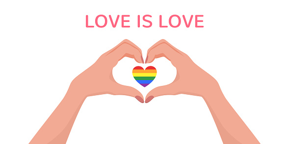 Woman hands making heart shape gesture with lgbt rainbow in flat style. Web banner with phrase Love is Love. Celebrating Pride Month Against Violence, Discrimination, Human Rights Violation. Vector