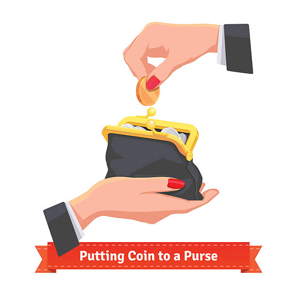 Woman hands putting coin to a black purse Woman hands putting coin to a black purse. Flat style vector illustration. change purse stock illustrations