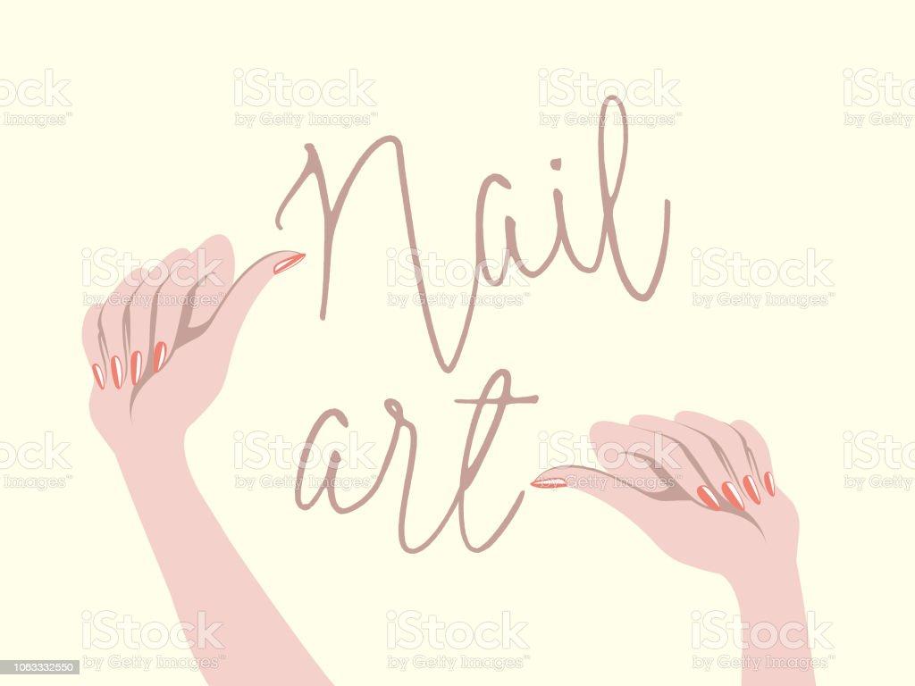 エレガントな赤いマニキュア マニキュアで女性の手。爪のアート サロン ベクトル イラスト。 ベクターアートイラスト