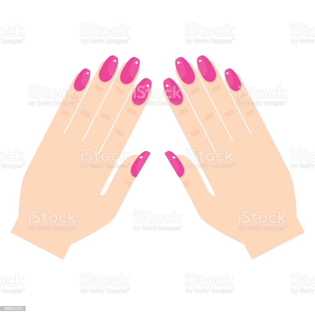woman hands with manicure vector art illustration