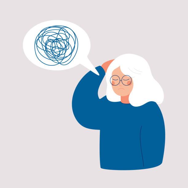 ilustrações de stock, clip art, desenhos animados e ícones de woman has depression with bewildered thoughts in her mind. - alzheimer