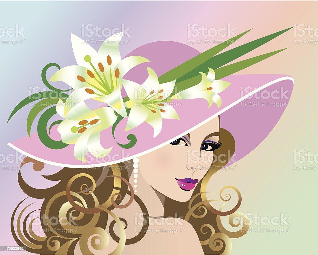 Woman Hat Lilies C vector art illustration