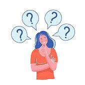 Woman have a question. the girl thought. A pose of the thinking person. Vector cartoon illustration
