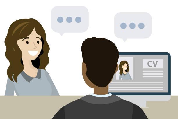 bildbanksillustrationer, clip art samt tecknat material och ikoner med kvinna med en jobb intervju på kontoret - job interview