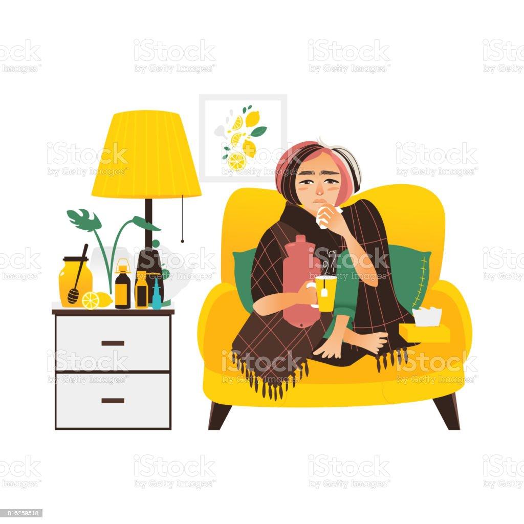 Woman having flu, sitting sick at home vector art illustration