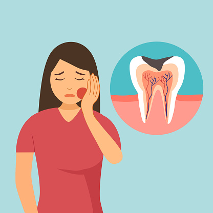 Woman having painful toothache character in flat design. Dental problem and oral treatment concept.