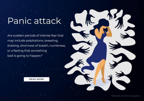 illustrazioni stock, clip art, cartoni animati e icone di tendenza di woman having panic attack disorder in public place - violenza donne