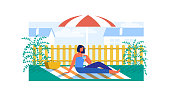 Woman Having Picnic under Umbrella from Sun Flat Cartoon Vector Illustration. Girl Drinking Water Glass in Garden or Park with Plants. Female Character Sitting on Blanket with Basket.