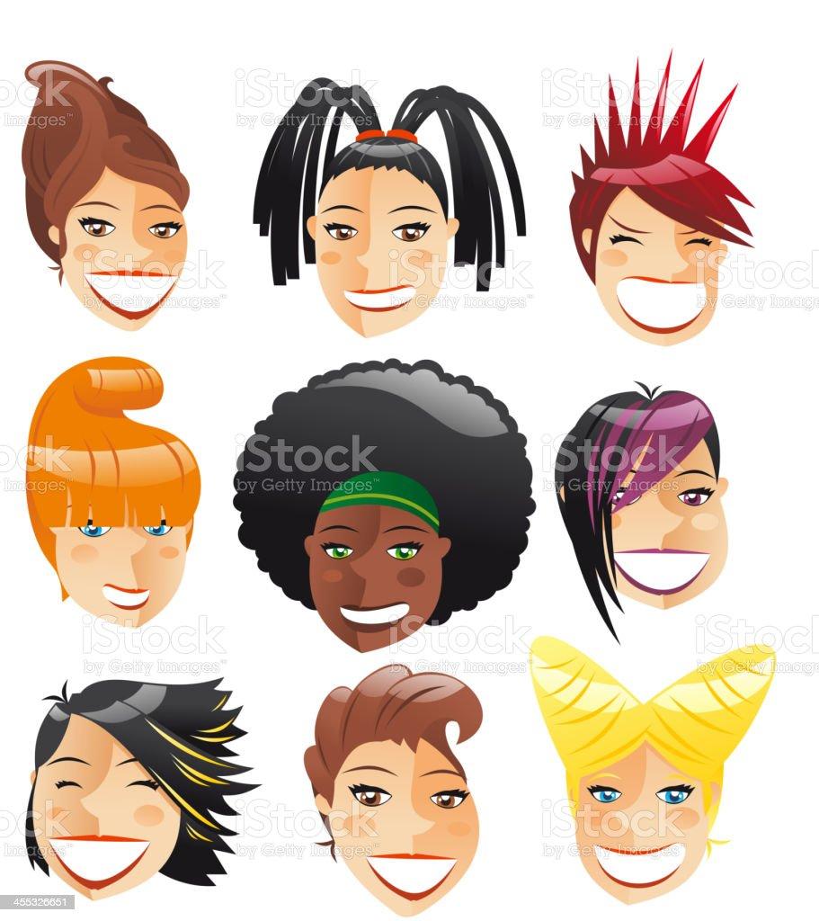 Kobieta Głowa Cool Fryzura Awatar Profilu Stockowe Grafiki