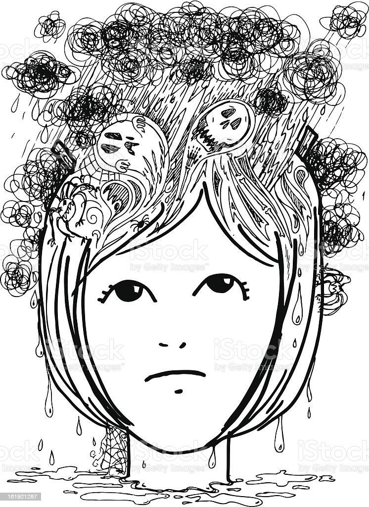 Woman head full of nightmares royalty-free stock vector art