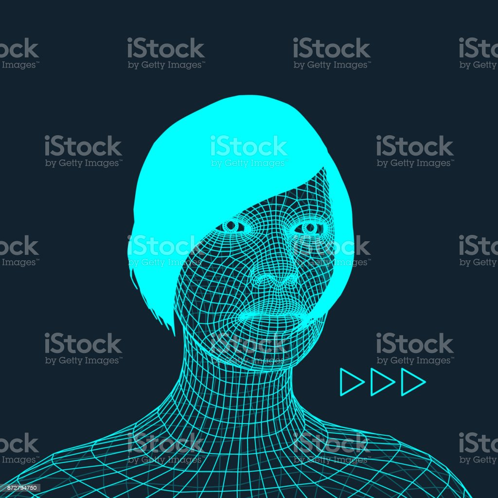 Woman. Head of the Person from a 3d Grid. Geometric Face Design. Polygonal Covering Skin. Vector Illustration. royalty-free woman head of the person from a 3d grid geometric face design polygonal covering skin vector illustration stock illustration - download image now