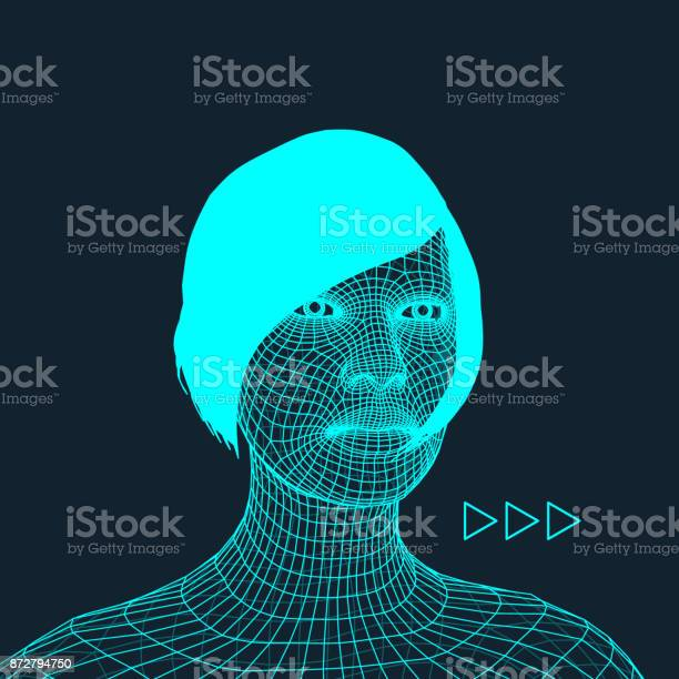 Woman Head Of The Person From A 3d Grid Geometric Face Design Polygonal Covering Skin Vector Illustration Stock Illustration - Download Image Now