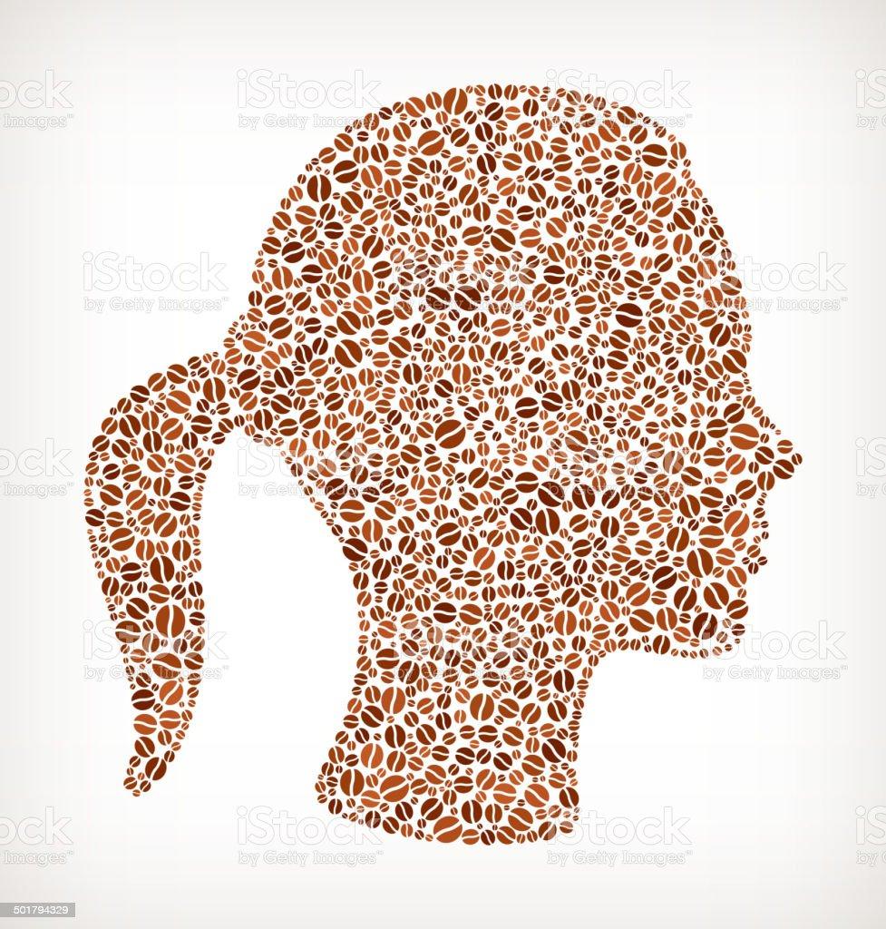 woman Head royalty free Coffee Bean Pattern royalty-free stock vector art