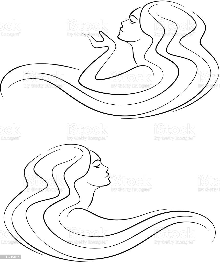 Woman head with long hair royalty-free stock vector art