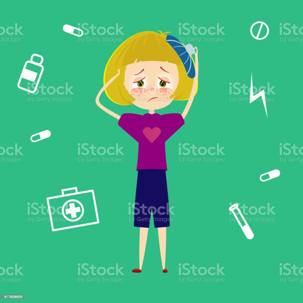 Woman Headache Sick Young Girl With Migraine Tired And Feel Pain And Suffering From Stress Child With Fever And Illness Sickness Symptoms Vector Illustration In Cartoon Style Stock Illustration Download Image