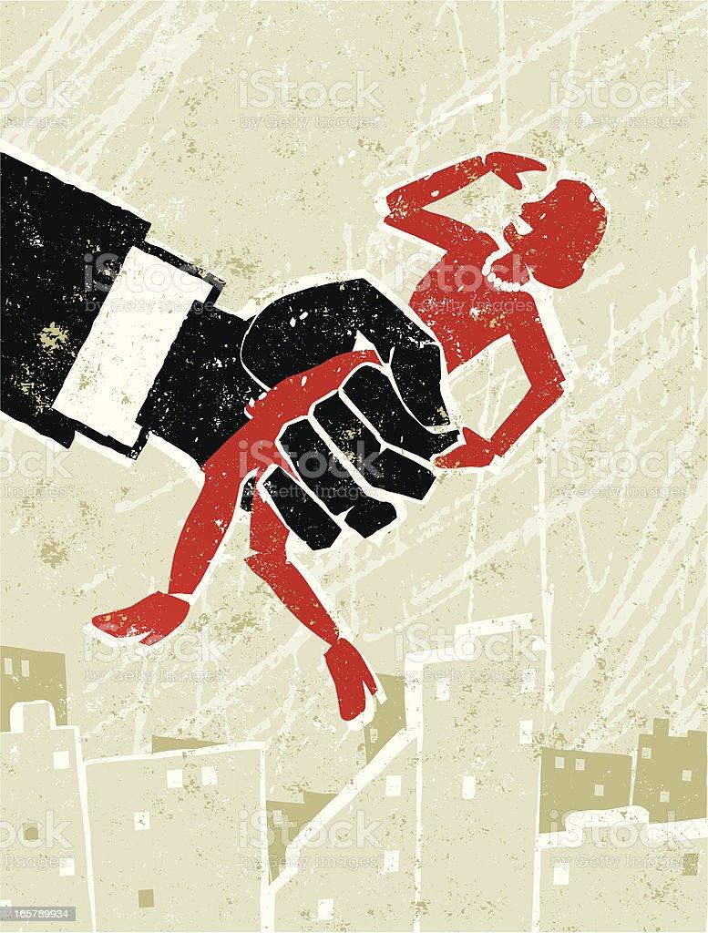 Woman Held in Grasp of The Man vector art illustration