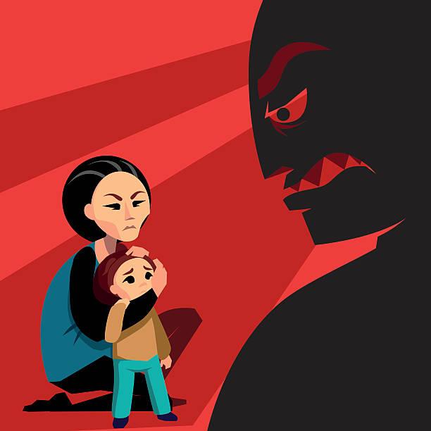 frau versteckt das kind von male silhouette - häusliche gewalt stock-grafiken, -clipart, -cartoons und -symbole
