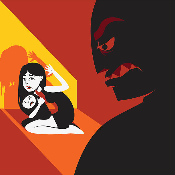 woman hides the child from male silhouette - domestic violence stock illustrations