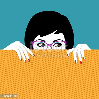 Vector illustration of beautiful young woman wearing glasses hiding behind wall a watching