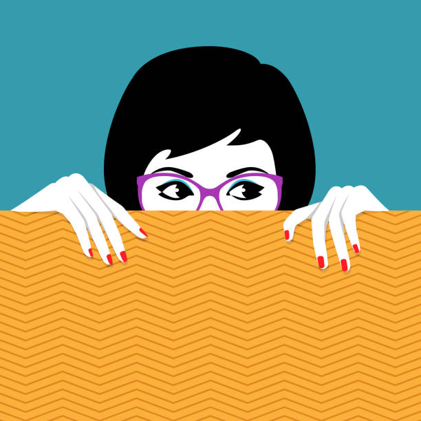 Woman hiding behind wall a watching Vector illustration of beautiful young woman wearing glasses hiding behind wall a watching curiosity stock illustrations