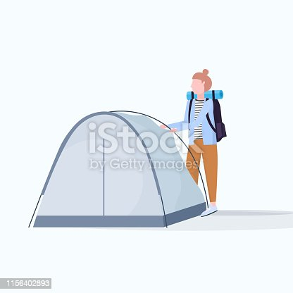 woman hiker camper installing a tent preparing for camping hiking concept traveler on hike female cartoon character full length flat vector illustration