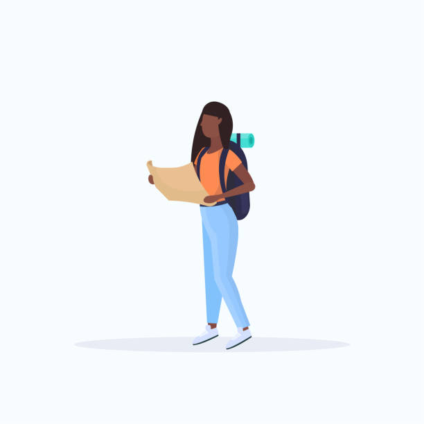 woman hiker with backpack holding travel map african american girl planning the route hiking concept traveler on hike full length white background flat woman hiker with backpack holding travel map african american girl planning the route hiking concept traveler on hike full length white background flat vector illustration hiking stock illustrations