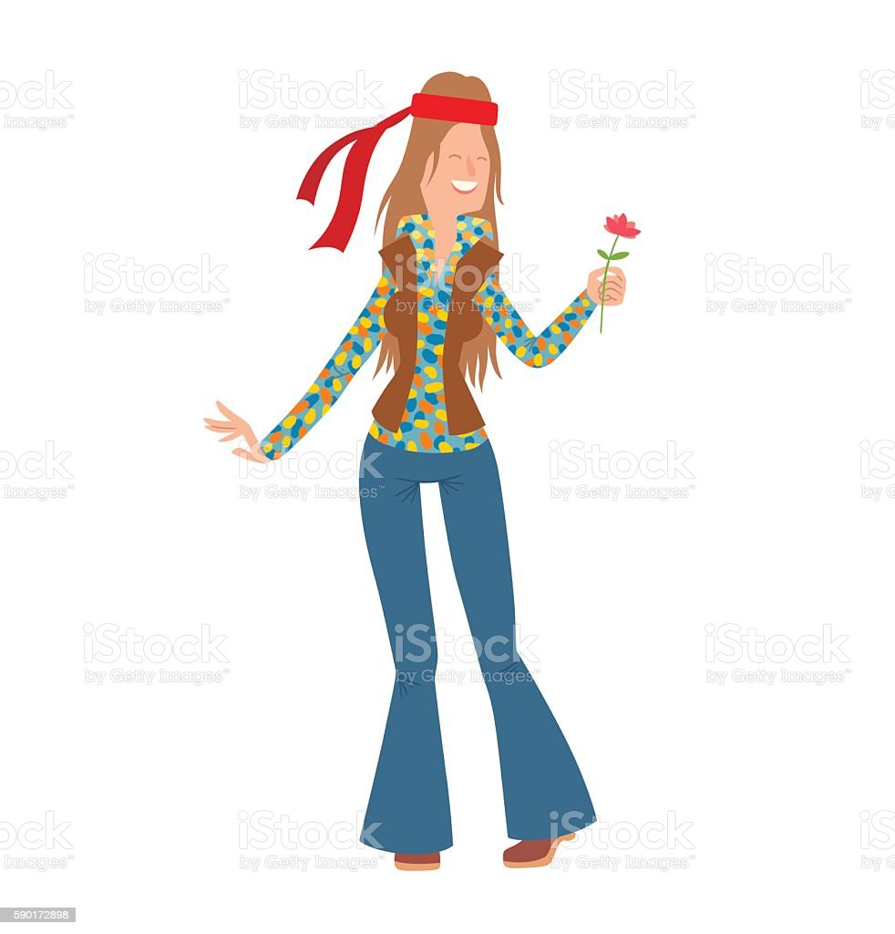 Woman hippie with long brown hair vector art illustration