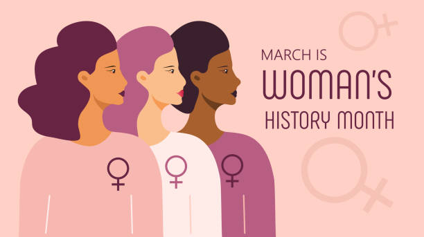 Woman history month concept vector on flat style. Event is celebrated in March in USA, United Kingdom, Australia. Girl power and feminism illustration for web, poster Woman history month concept vector on flat style. Event is celebrated in March in USA, United Kingdom, Australia. Girl power and feminism illustration for web, poster, banner. month stock illustrations