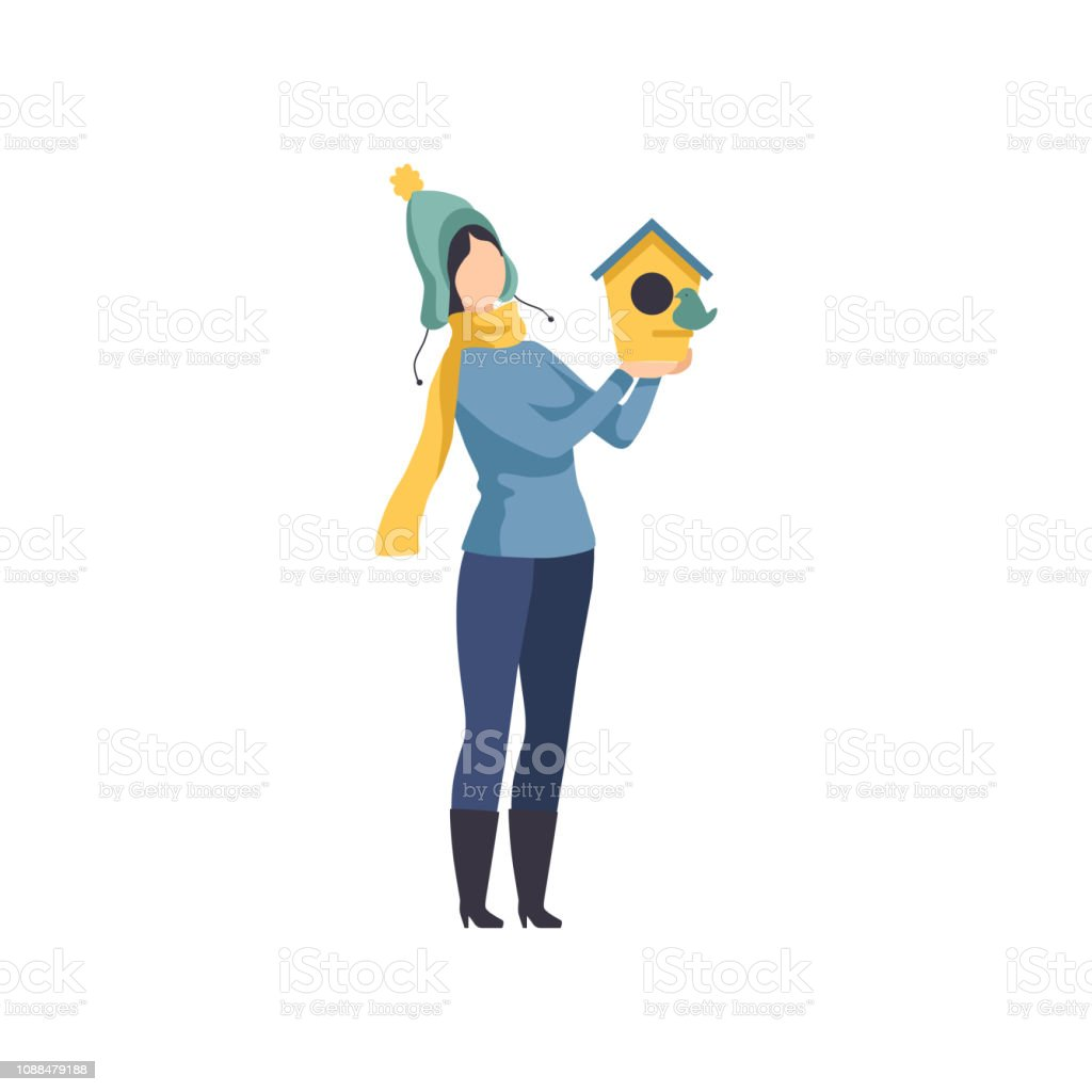 Woman holding a birdhouse, girl taking care of the birds in winter rime vector Illustration on a white background vector art illustration