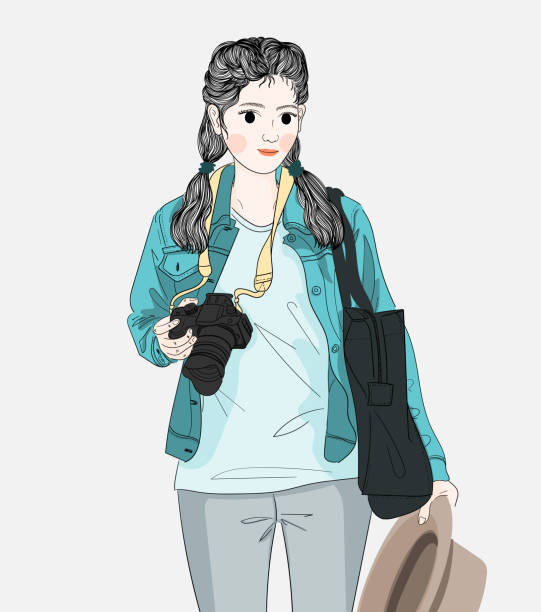 Woman holding a camera and traveling to the city on the weekend vector art illustration