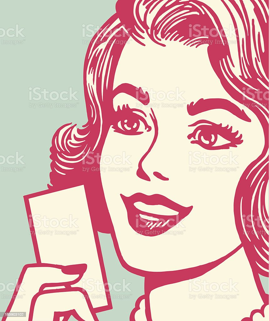 Woman Holding a Card vector art illustration
