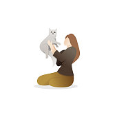 A Woman holding a cute cat. Young woman sitting on the floor holding with her cat. Pretty young girl and her cat on white background. Vector illustration