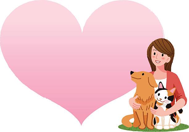 illustrations, cliparts, dessins animés et icônes de femme tenant un chien et un chat - femme seule s'enlacer