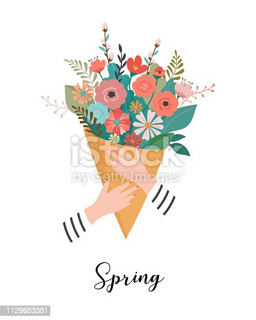 Woman holding a flower bouquet. Vector illustration, greeting card template