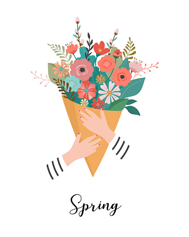 Woman holding a flower bouquet. Vector illustration, greeting card