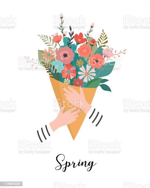 Woman holding a flower bouquet vector illustration greeting card vector id1129653351?b=1&k=6&m=1129653351&s=612x612&h=8a1vqg93nmrp5n3ec0aonx8qzbt8i7nhy8hwtdibdoq=