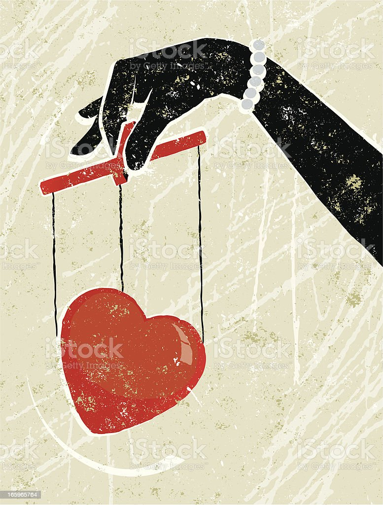 Woman Holding a Heart Puppet vector art illustration