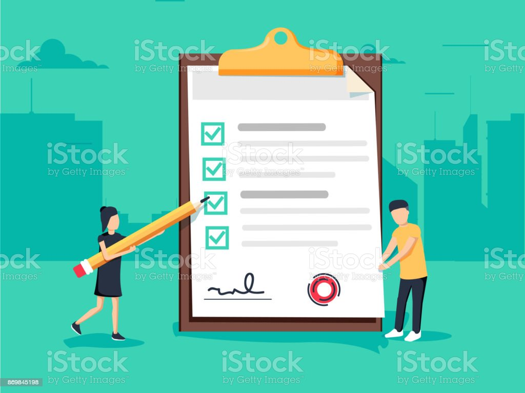 Woman holding a pencil completing checklist on clipboard. Business concept. Clipboard with checklist icon. vector art illustration