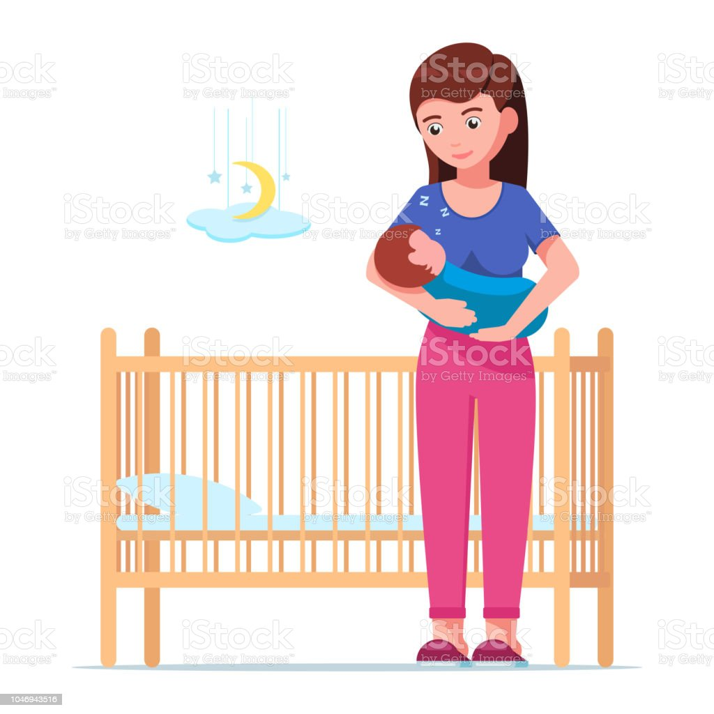 Woman holding a sleeping baby next to a baby crib vector art illustration