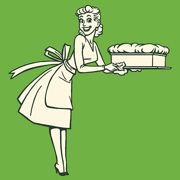 frau hält eine soufflé - hausfrau stock-grafiken, -clipart, -cartoons und -symbole