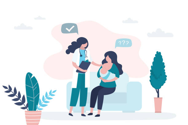 ilustrações de stock, clip art, desenhos animados e ícones de woman holding and breastfeeding infant baby. consultation with a mammologist or pediatrician. - breastfeeding